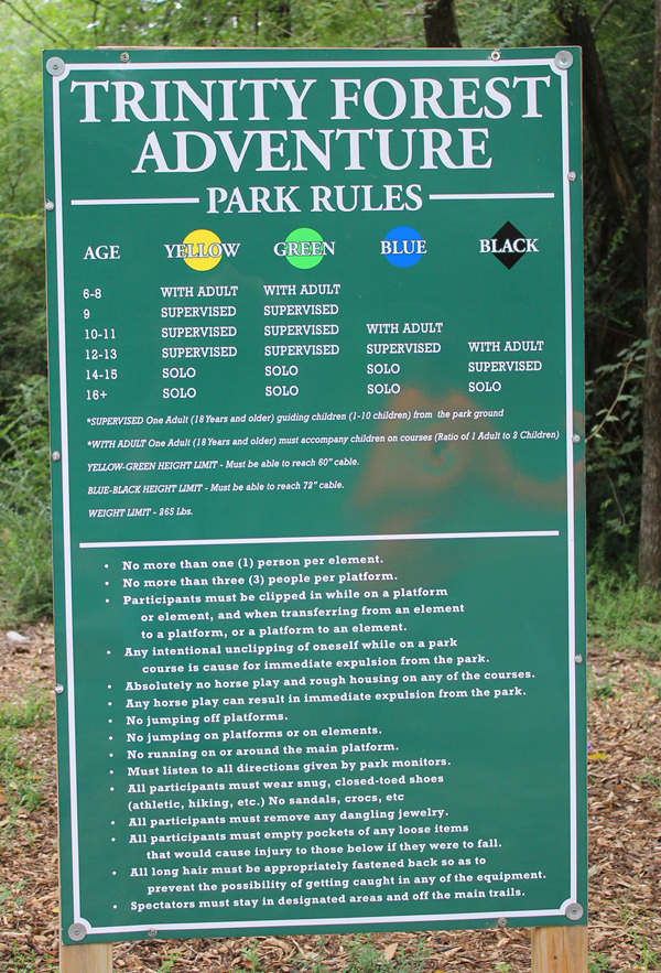 A board at the park lays out the rules participants must follow.