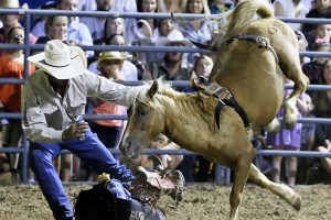 Kent James, from Oklahoma is protected by a rodeo cowboy after falling from his bronc