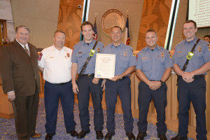 Fire Prevention Week was proclaimed for Oct. 4-10 in Wylie. Pictured with the official proclamation are, l-r, Mayor Eric Hogue, Chief Brandon Blythe, Capt. Chris Campbell, and Firefighters Edwin Barney, Keith Boldroff and Randall Barber.