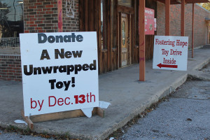The sign in front of Fostering Hope changes to give notice of its needs for the Christmas season.