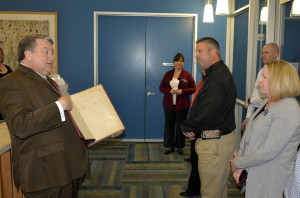 Leadership Wylie participants visit Wylie City Hall and are educated on the history of Wylie by Mayor Eric Hogue.
