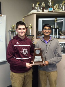 Jan. 21 the Wylie Pirate Debate Team became district champions. The team of Jacob Williams and Akash Sharma made it to the final round, without losing a single ballot, and beat the top seed for both Lovejoy and Prosper to become the District 5A champions!!  They will be competing at the State Finals for CX at UT in Austin March 17-19. Pictured from left are Jacob and Akash.