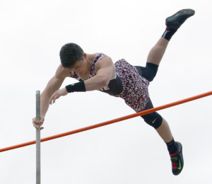 Chad Engbrock/The Wylie News Wylie pole vaulter Robert Wood tied a school mark when he cleared 13-6 at Saturday's Chris Givens Invitational at Wylie High School. Wood was one of many Wylie ISD athletes who finished at or near the top of their respective events during the meet.
