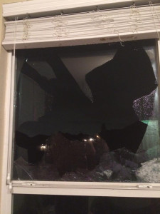 Broken windows are a result of the intense hail storm in Wylie. Courtesy of Tabitha South.