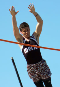 Greg Ford/The Wylie News Robert Wood's face may not show it, but he's on his way to a new school record in the pole vault, as he cleared 14-3 to earn second place during last Thursday's 9-5A/10-5A area meet at Wylie High School. The leap was good enough to earn him second place and a spot in this week's regional meet in Arlington.