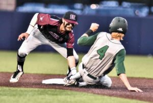 Oladipo Awowale/The Wylie News The Pirates' Peyton Graham tags out Prosper's Trendan Starkes at second during Game 1 of last week's Region II quarterfinal series. Wylie won that game 4-2 at Jesuit and then ended Prosper's season 3-2 the following night at Plano West.