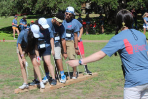 "District 5 officers on their ""ropes course"" doing team building exercises at the SkillsUSA conference in Kerrville."