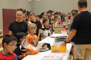 About 1,000 students received free school supplies Saturday, Aug. 13, at the Back-to-School Fair held at Draper Intermediate School in Wylie.