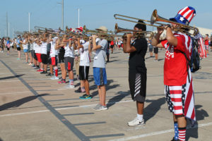Wylie High School band members practiced lining up in special formations last week as they prepare for the fall marching season. A number of the band members showed up that day sporting the USA red, white and blue colors.