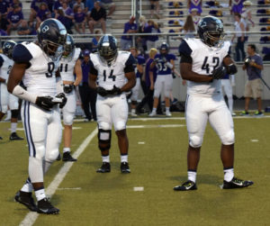 Greg Ford/The Wylie News Members of the Wylie East defense check out the defensive call during last Friday's 49-0 win at Hallsville.