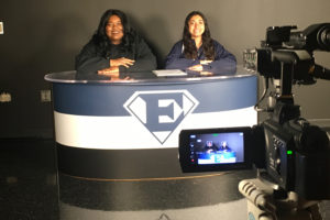 Wylie East Video Production students Nikki Darden, left, and Carolina Borjas practice rehearsing for the Blue-i News video announcements Thursday, Sept. 8.