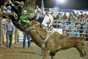 Bareback rider Danny Chandler from Stephenville tries to hold on without the aid of reigns or a saddle Saturday, Sept. 10. The event featured kids activities, food, vendor booths and much more
