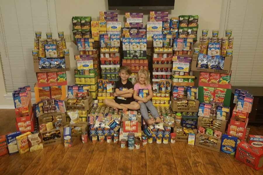 Students collect for canned food drive