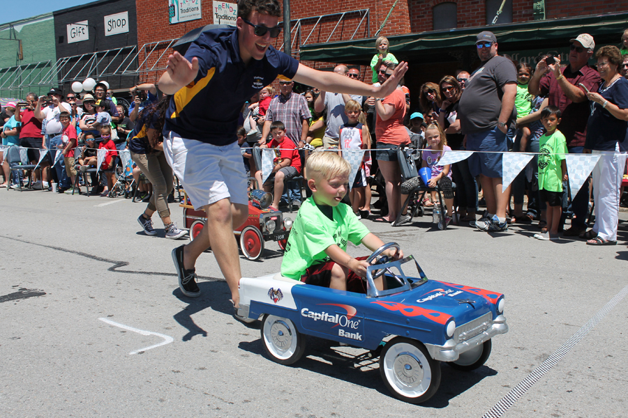 Young drivers race downtown