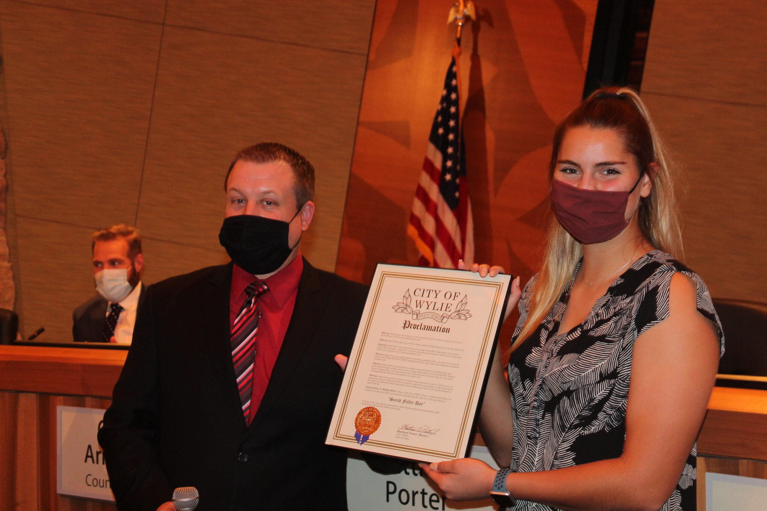 Council honors Wylie High School grad Sarah Fuller